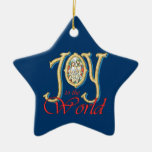 Joy to the World with Stained Glass Nativity Christmas Ornament