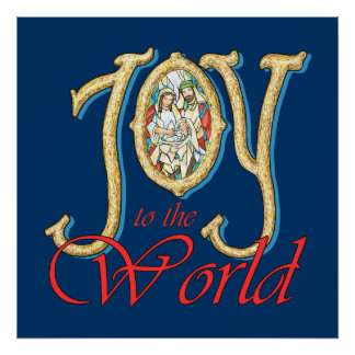 Joy to the World with Stained Glass Nativity Poster