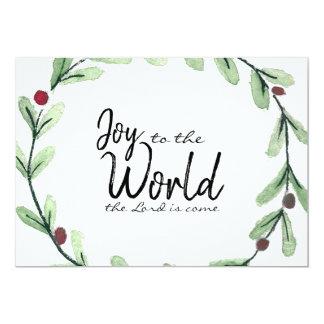 Joy To The World Wreath Photo Christmas Card