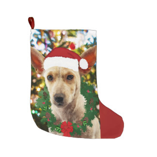 Joy to thee Puppy Large Christmas Stocking