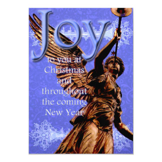 Joy to You at Christmas - Angel w/ trumpet in Blue Card