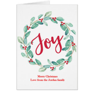 Joy watercolor holly wreath Christmas Card