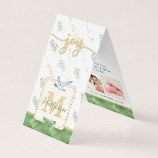 JOY Watercolor Monogram Folded Photo Gift Tags