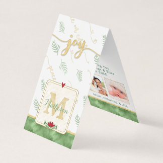 JOY Watercolor Monogram Photo Gift Tags