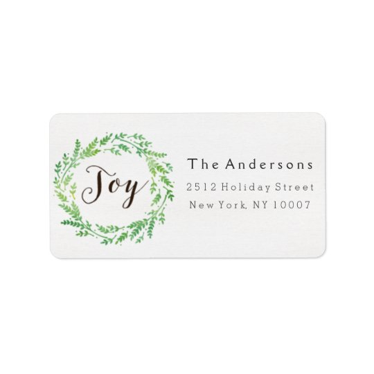 Joy watercolor wreath address label