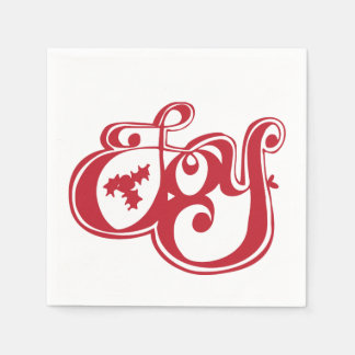 Joy with Holly Christmas Holiday Napkin