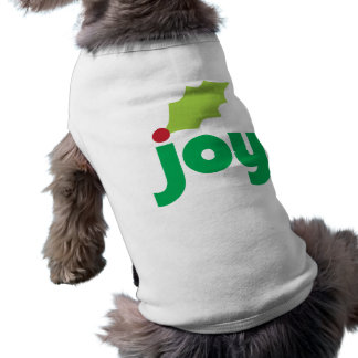 Joy with Holly Leaf and Berry Dog Tee