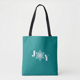 JOY with White Snowflake on Deep Teal Blue Tote Bag