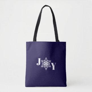 JOY with White Snowflake on Navy Blue Tote Bag