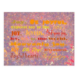 Joy word collage postcard
