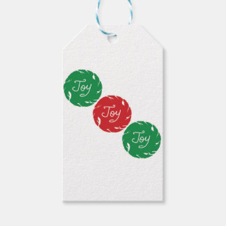 Joy wrapping red and green gift tags