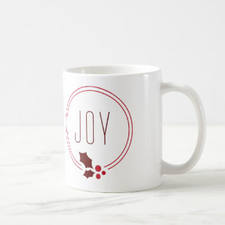 Joy Wreath and Berries Festive Holiday Mug