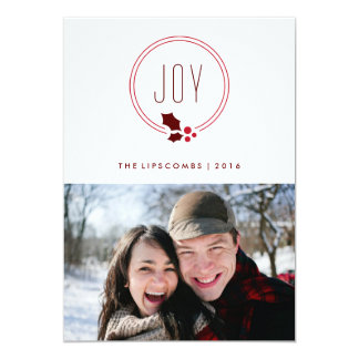 Joy Wreath and Berries Holiday Photo Card