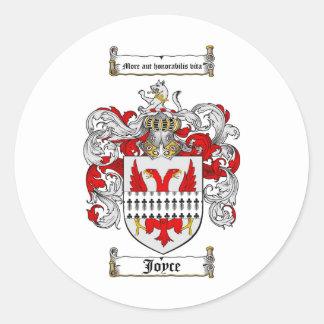 JOYCE FAMILY CREST -  JOYCE COAT OF ARMS CLASSIC ROUND STICKER