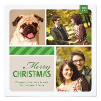 Joyeuse crème blanche verte du collage | de photo carton d'invitation  13,33 cm