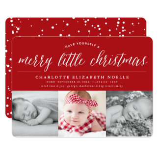 Joyeuse petite carte de collage de photo de Noël Carton D'invitation 12,7 Cm X 17,78 Cm