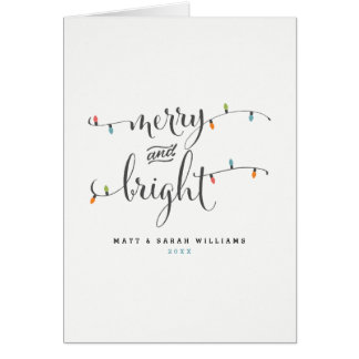 Joyeuses et lumineuses lumières de Noël Carte