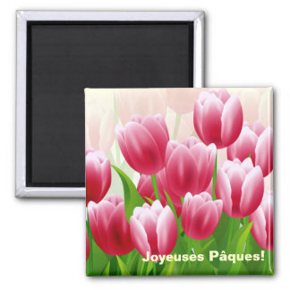 Joyeuses Pâques. Spring Tulips Easter Gift Magnets