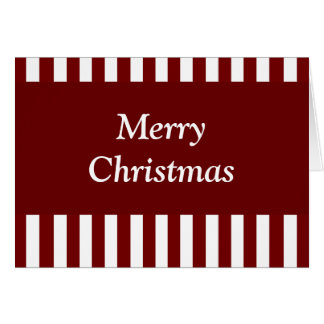 Joyeuses rayures cramoisies de rouge de Noël - b Carte De Vœux
