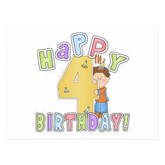 Joyeux 4ème anniversaire de garçons cartes postales