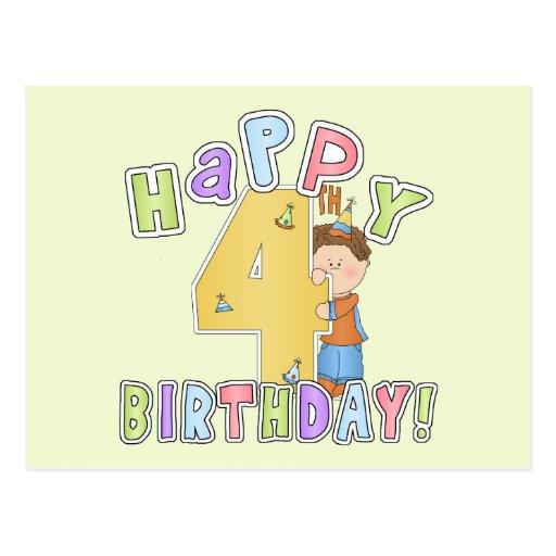 Joyeux 4ème anniversaire de garçons carte postale