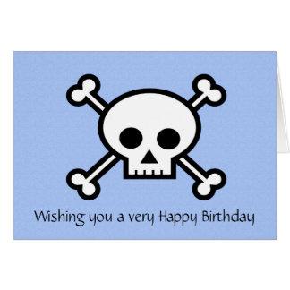 Joyeux anniversaire avec le crâne et les os carte de vœux