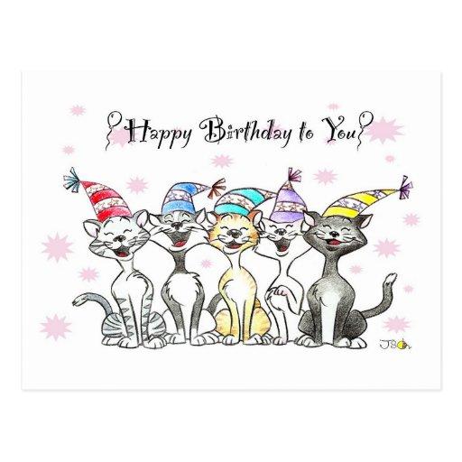 Joyeux anniversaire (chats de chant) carte postale