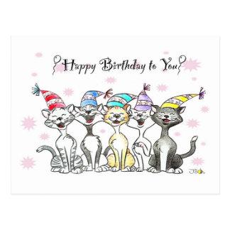 Joyeux anniversaire (chats de chant) cartes postales