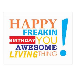 Joyeux anniversaire de freakin vous chose vivante cartes postales