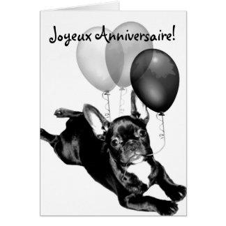 Joyeux Anniversaire French Bulldog Greeting card
