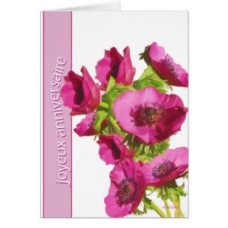 joyeux anniversaire (french happy birthday) anemon card