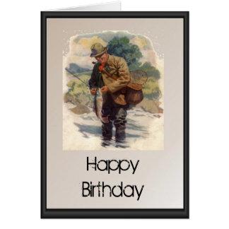 Joyeux anniversaire - pêche de mouche en rivière carte de vœux