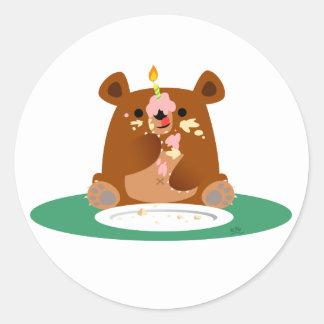 Joyeux anniversaire, peu d'ours ! ! sticker rond