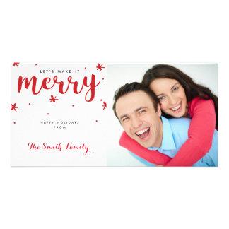 Joyeux carte photo de Noël de confettis Photocarte
