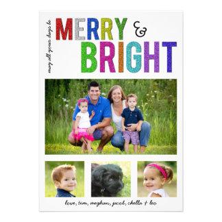 Joyeux et lumineux carte photo de vacances de | invitations