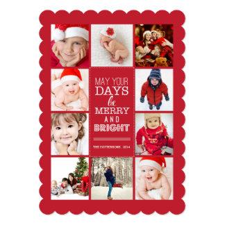 Joyeux et lumineux rouge moderne heureux de carton d'invitation  12,7 cm x 17,78 cm