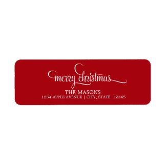 Joyeux étiquette de adresse de retour de Noël | Étiquettes D'adresse Retour
