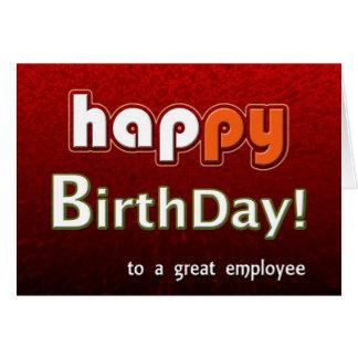 Joyeux joyeux anniversaire à un grand employé carte de vœux