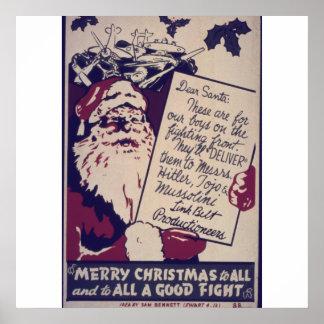 Joyeux Noël à tous et au tout un bon combat Poster