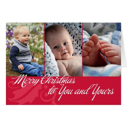 Joyeux Noël à vous et au vôtre 3 photos rouges Carte De Vœux