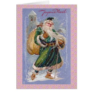 Joyeux Noel aka Merry Christmas Green Santa Claus Card