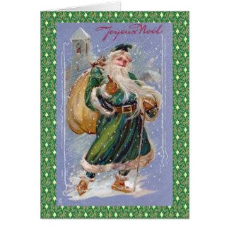 Joyeux Noel aka Merry Christmas Green Santa Claus Greeting Card
