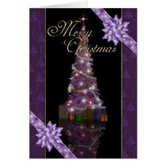 Joyeux Noël - arbre et lumières de vacances Carte