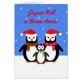 Joyeux Noël Bonne Année penguins french language Greeting Card