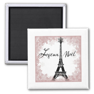 Joyeux Noël Eiffel Tower Paris Christmas Print Square Magnet