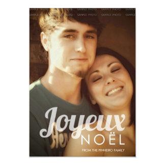 "Joyeux Noel Family Christmas Picture Holiday Photo 5"" X 7"" Invitation Card"