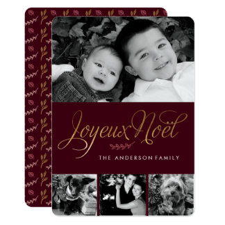 "Joyeux Noel French Christmas 5"" X 7"" Invitation Card"