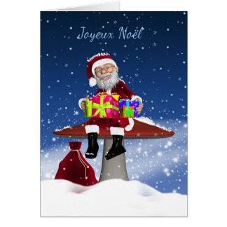 Joyeux Noel - French Christmas Card With Santa