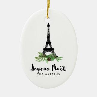 Joyeux Noel French Eiffel Tower Christmas Ceramic Ornament
