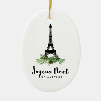 Joyeux Noel French Eiffel Tower Christmas Ceramic Oval Ornament